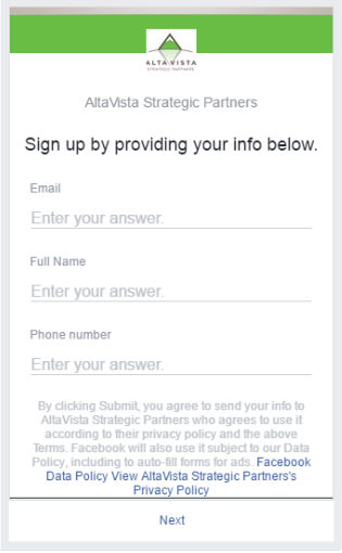 Example Facebook Lead Forms