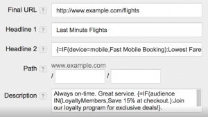 Google Adwords IF Function Example
