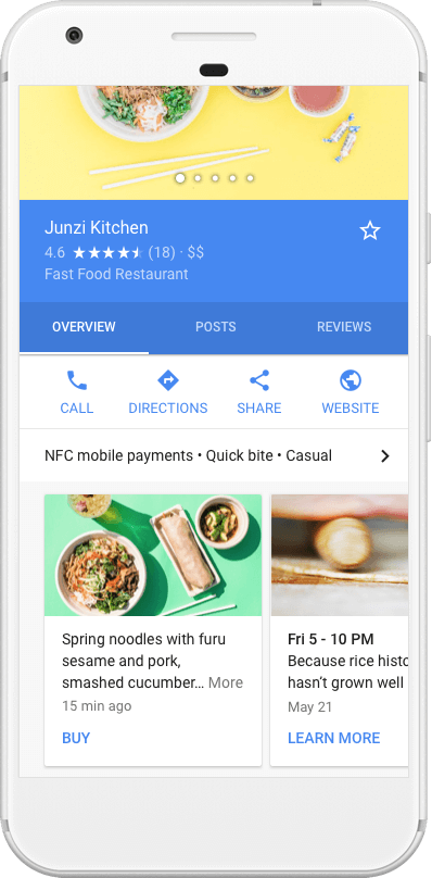 Google Posts in mobile search results