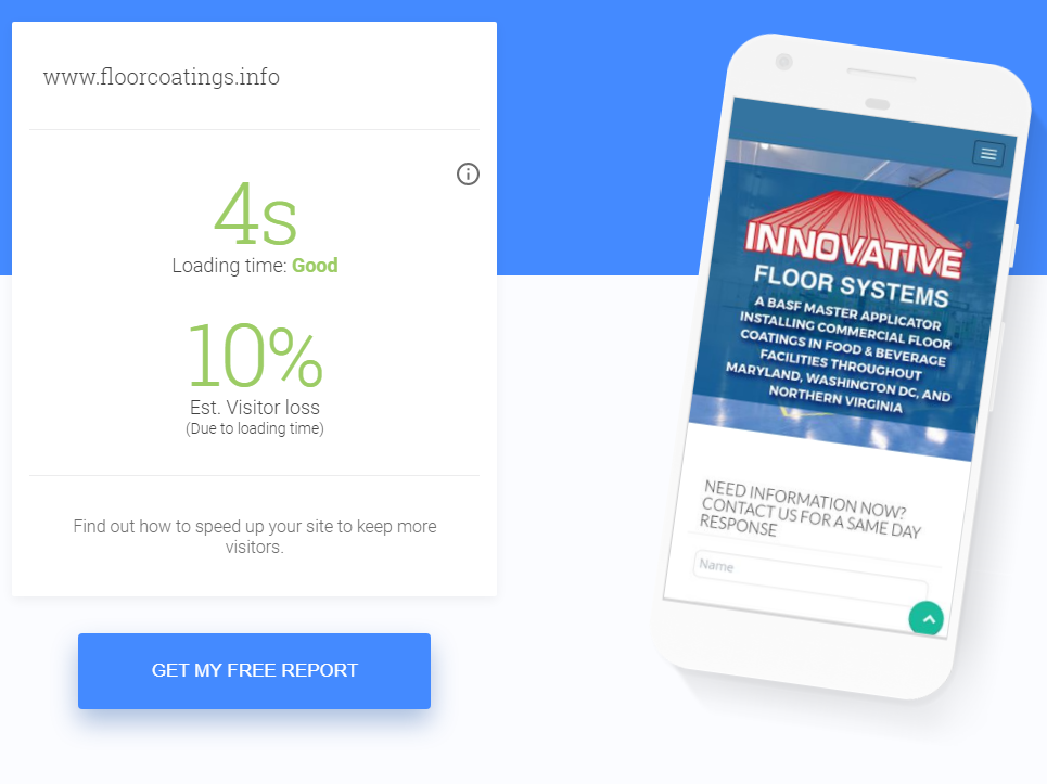 Example Google's Site Speed Test Results