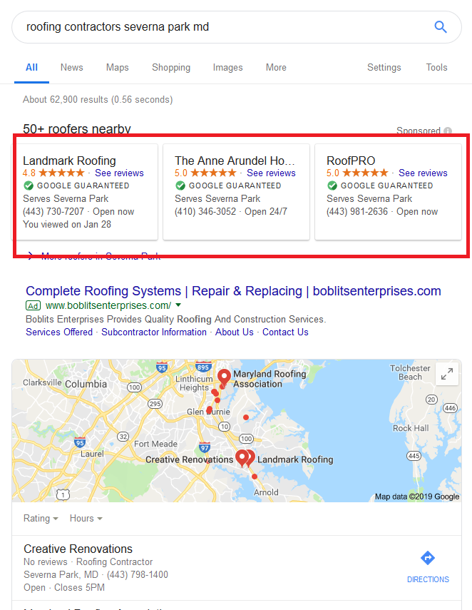 Google Local Services Ads For Roofers Example Search Results Page