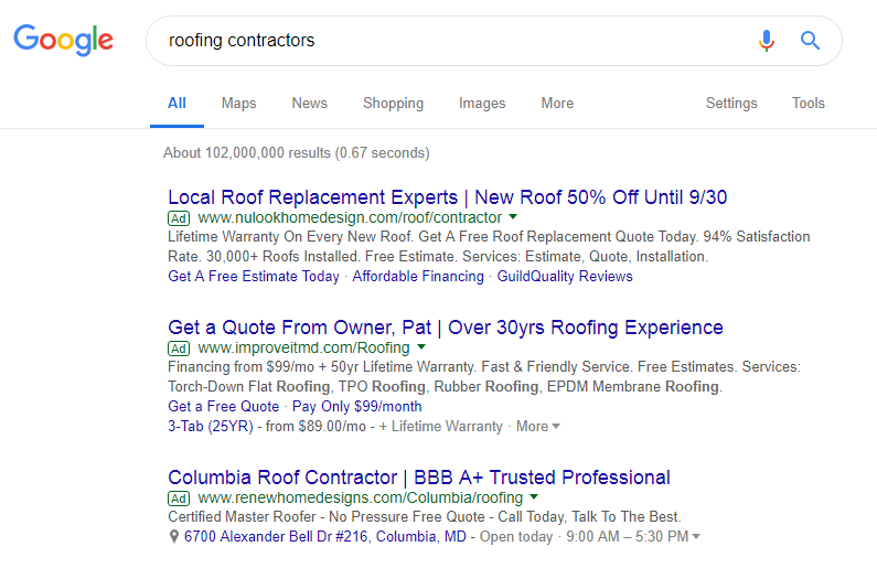 Roofing Contractor Ads At Top of Google Search Results One of 5 Reasons Roofers Need A PPC Campaign