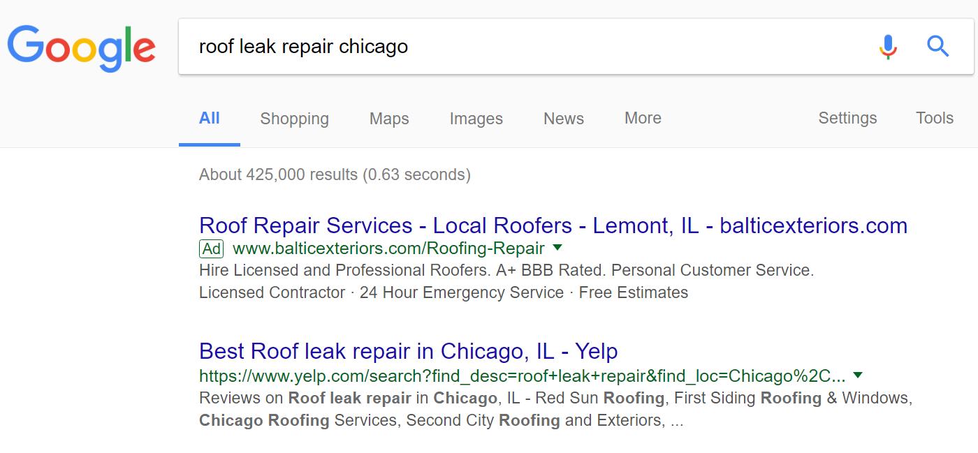 Google AdWords Ad Label Example