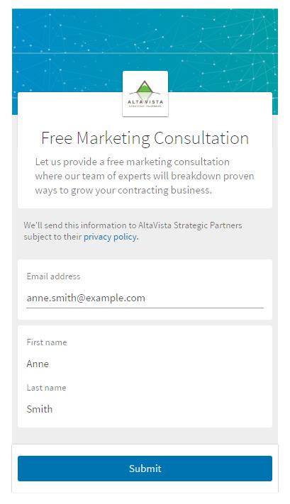 LinkedIn Form Example 1